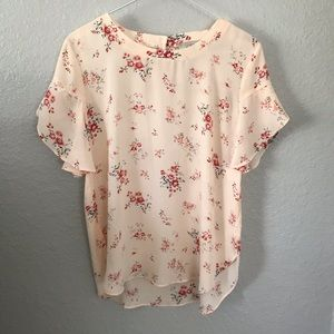 LOFT Outlet floral flutter sleeve blouse